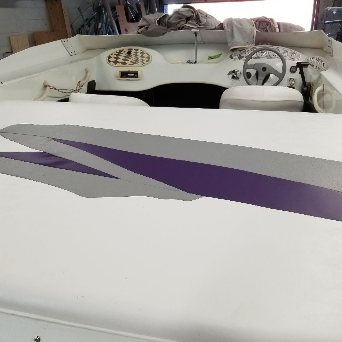 white with purple seats
